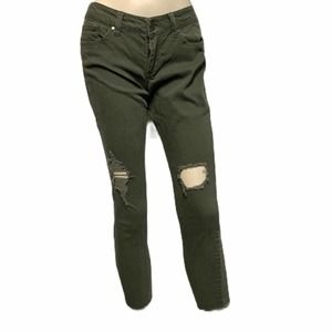 RSQ Baja ankle distressed olive jeans raw …